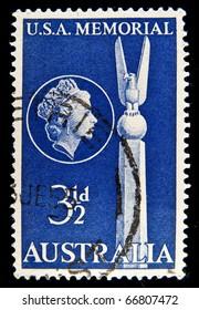 AUSTRALIA - CIRCA 1955: Australian postage stamp shows  memorial, circa 1955