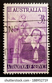 AUSTRALIA - CIRCA 1955:A Cancelled postage stamp from Australia illustrating centenary of Florence Nightingales Nursing Services , issued in 1955.