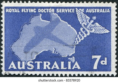 AUSTRALIA - CIRCA 1957: A stamp printed in Australia, is dedicated to Royal Flying Doctor Service of Australia, shows the Caduceus and Map of Australia, circa 1957
