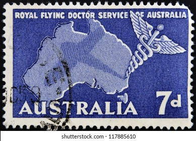 AUSTRALIA - CIRCA 1958: A stamp printed in Australia shows Royal Flying Doctor Service of Australia, Caduceus and Map of Australia, circa 1958