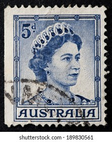 AUSTRALIA - CIRCA 1959  to 1962:A Cancelled postage stamp from Australia illustrating Queen Elizabeth II, issued between 1959 and 1962.