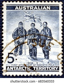 AUSTRALIA - CIRCA 1959: Postage stamp printed in Australia with a picture of a Antarctic Territory shows Edgeworth David, Douglas Mawson and A. F. McKay, Expedition to the South Pole of 1908-1909