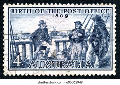 AUSTRALIA - CIRCA 1959: A used postage stamp from Australia, commemorating the 150th Anniversary of the Birth of the Post Office, circa 1959.