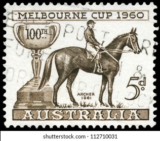 AUSTRALIA - CIRCA 1960: A Stamp printed in AUSTRALIA shows the Melbourne Cup and Archer, 1861 Winner, Centenary issue, circa 1960