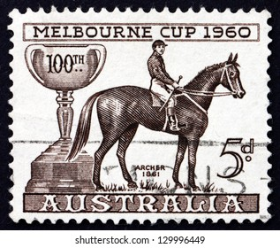 AUSTRALIA - CIRCA 1960: a stamp printed in the Australia shows Melbourne Cup and Archer, 1862 Winner, Centenary of the Melbourne Cup, circa 1960