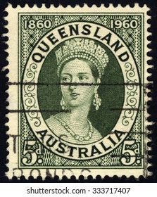 AUSTRALIA - CIRCA 1960: A stamp printed in the Australia shows Queen Victoria, Centenary of the first Queensland Stamps, circa 1960