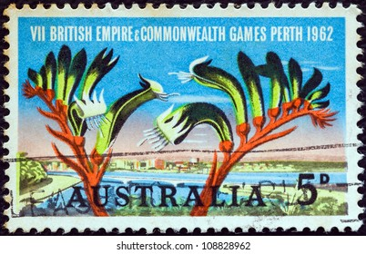 AUSTRALIA - CIRCA 1962: A stamp printed in Australia issued for the British Empire and Commonwealth Games, Perth shows Perth and Kangaroo Paw plant, circa 1962.