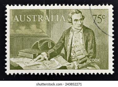 AUSTRALIA - CIRCA 1963: A stamp printed in Australia shows Captain James Cook (1728-1779), circa 1963