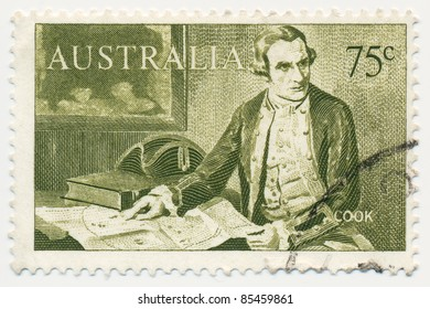 AUSTRALIA - CIRCA 1963: A stamp printed in Australia, shows Captain James Cook (1728-1779), circa 1963