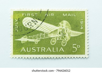 Australia - CIRCA 1964 - vintage 5d australian stamp features the first airmail in 1914