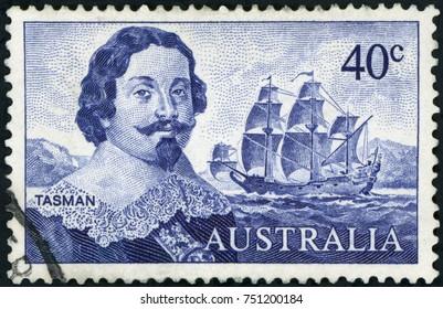 AUSTRALIA - CIRCA 1966: Stamp printed in Australia showing the portrait of Dutch merchant Abel Janszoon Tasman and his ship Heemskerck, circa 1966. Abel Tasman is the first European to reach Tasmania.