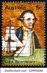 AUSTRALIA - CIRCA 1970: a stamp printed in the Australia shows Captain James Cook and Endeavour, Explorer, Navigator and Cartographer, circa 1970