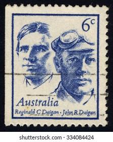 AUSTRALIA - CIRCA 1970: A stamp printed Australia shows Reginald C. and John R. Duigan, Pioneer Aviators, series of Famous Australian, circa 1970
