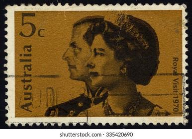 AUSTRALIA - CIRCA 1970: A stamp printed in the Australia illustrating Royal Visit of Queen Elizabeth and Duke of Edinburgh, circa 1970