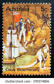 AUSTRALIA - CIRCA 1970:A Cancelled postage stamp from Australia illustrating Captain Cook Bi-Centenary, issued in 1970.