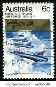 AUSTRALIA - CIRCA 1971: stamp printed by Australia, shows Australian Mirage Jet Fighters, circa 1971