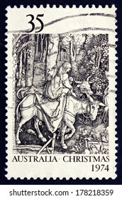AUSTRALIA - CIRCA 1974: a stamp printed in the Australia shows Flight into Egypt, by Albrecht Durer, Christmas, circa 1974