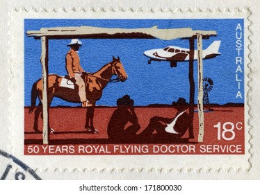 AUSTRALIA - CIRCA 1978: An Australian Postage Stamp celebrating the 50 Years of the Royal Flying Doctor Service, circa 1978.