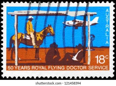 AUSTRALIA - CIRCA 1978: A Stamp printed in AUSTRALIA shows the Beechcraft Baron landing, Royal Flying Doctor Service, 50th anniversary, circa 1978
