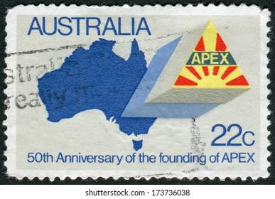 AUSTRALIA - CIRCA 1981: Postage stamp printed in Australia, dedicated to the 50th anniversary of APEX, shows Map of Australia, APEX Emblem, circa 1981