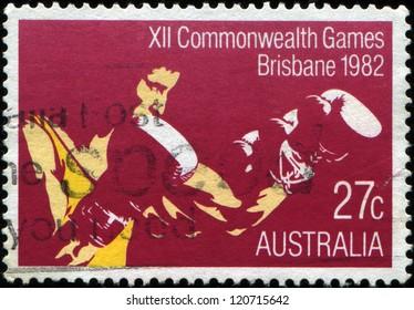 AUSTRALIA - CIRCA 1982: A Stamp printed in Australia shows  Boxing, 12th Commonwealth Games, Brisbane, series, circa 1982