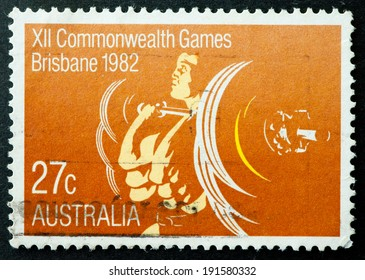 AUSTRALIA - CIRCA 1982:A Cancelled postage stamp from Australia illustrating Brisbane Commonwealth Games, issued in 1982.