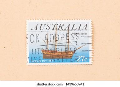AUSTRALIA - CIRCA 1983: A stamp printed in Australia shows an image of the HMS Sirius, circa 1983