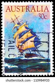 "AUSTRALIA - CIRCA 1984: A Stamp printed in AUSTRALIA shows the ship ""Cutty Sark"" (1869), Clipper Ships series, circa 1984"