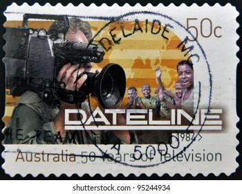 AUSTRALIA - CIRCA 1984: A stamp printed in Australia shows image celebrating 50 years of Dateline, circa 1984