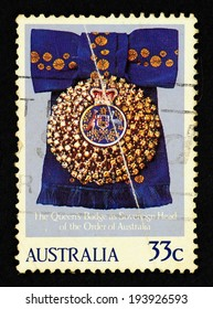 AUSTRALIA - CIRCA 1985: Postage stamp printed in Australia with image of the Queen's badge as sovereign had of the Order of Australia.