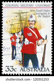 AUSTRALIA - CIRCA 1985: A Stamp printed in AUSTRALIA shows the New South Wales Contingent to the Sudan, Colonial military uniforms, series, circa 1985