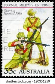 AUSTRALIA - CIRCA 1985: A Stamp printed in AUSTRALIA shows the Victorian Mounted Rifles, Colonial military uniforms, series, circa 1985