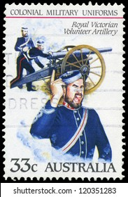 AUSTRALIA - CIRCA 1985: A Stamp printed in AUSTRALIA shows the Royal Victorian Volunteer Artillery, Colonial military uniforms, series, circa 1985
