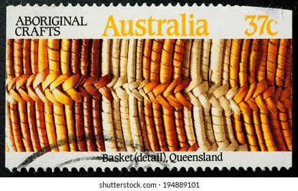 AUSTRALIA - CIRCA 1987:A Cancelled postage stamp from Australia illustrating Aboriginal Crafts, issued in 1987.