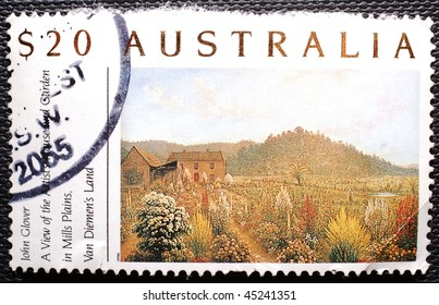 AUSTRALIA - CIRCA 1990: A $20 stamp (Australia Scott 1135 used, value $10) printed in Australia shows image of a cottage with a beautiful garden, circa 1990