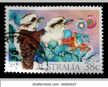 AUSTRALIA - CIRCA 1990: A stamp printed in Australia shows Laughing Kookaburra - Dacelo novaeguineae, circa 1990