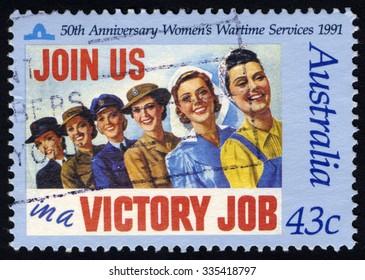 AUSTRALIA - CIRCA 1991: A stamp printed in the Australia shows Women Wartime Services, 50th Anniversary, circa 1991