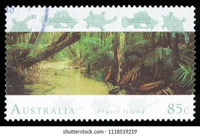 AUSTRALIA - CIRCA 1993: a stamp printed in the Australia shows Fraser Island, World Heritage Site in Australia, circa 1993