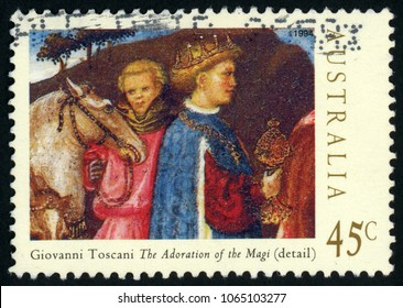 AUSTRALIA - CIRCA 1994: post stamp printed in Australia shows one of Magi, horse and groom; details from adoration of the Magi by Giovanni Toscani; Christmas; Scott 1393 45c; circa 1994