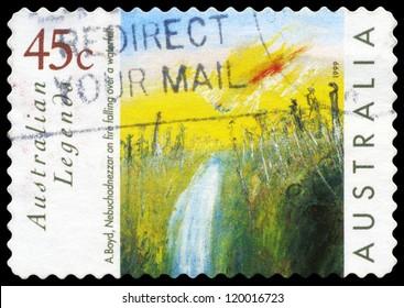 "AUSTRALIA - CIRCA 1999: A Stamp printed in AUSTRALIA shows the ""Nebuchadnezzar on Fire Falling over a Waterfall,�¢?�� by Arthur Boyd, Australian Legends series, circa 1999"