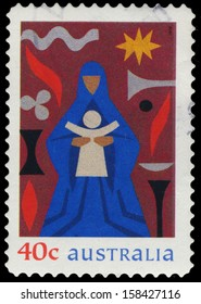 AUSTRALIA - CIRCA 1999: A Stamp printed in AUSTRALIA shows the Madonna and Child, Christmas issue, circa 1999
