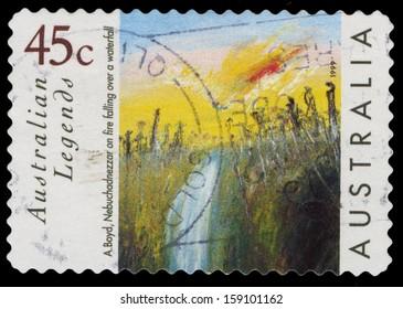 AUSTRALIA - CIRCA 1999: A Stamp printed in AUSTRALIA shows the Nebuchadnezzar on fire falling over a waterfall by Arthur Boyd, Australian Legends series, circa 1999