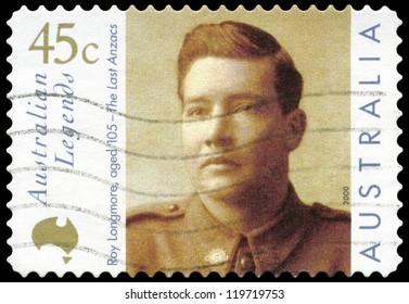 AUSTRALIA - CIRCA 2000: A stamp printed in AUSTRALIA shows the portrait of a Roy Longmore, Australian Legends series, circa 2000