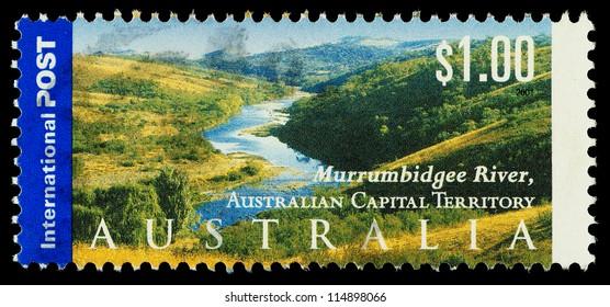 AUSTRALIA - CIRCA 2001: An Australian Used Postage Stamp showing the Murrumbidgee River in Australian Capitol Territory, circa 2001