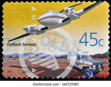 AUSTRALIA - CIRCA 2001: A Stamp printed in Australia shows the Royal Flying Doctor Service Aircraft and Ambulance, Outback Services, circa 2001