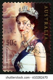 AUSTRALIA - CIRCA 2003: A used postage stamp from Australia, depicting a portrait of Queen Elizabeth II, commemorating the 50th Anniversary of other Coronation, circa 2003.
