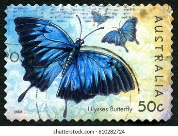 AUSTRALIA - CIRCA 2003: A used postage stamp from Australia, depicting an illustration of a Ulysses Butterfly, circa 2003.
