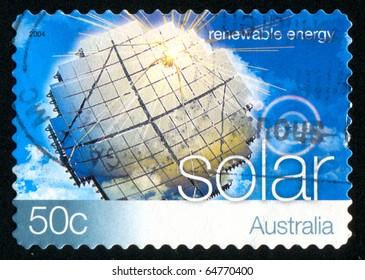 AUSTRALIA - CIRCA 2004: stamp printed by Australia, shows Renewable Energy, solar energy, circa 2004
