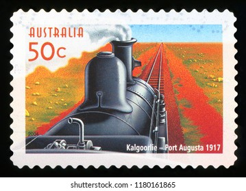 AUSTRALIA - CIRCA 2004: A used postage stamp from Australia, commemorating the train service between Kalgoorlie and Port Augusta, circa 2004.