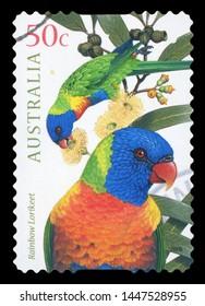 AUSTRALIA - CIRCA 2005: A stamp printed in Australia shows image of two rainbow lorikeet birds, series, circa 2005.
